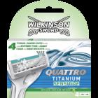 Wilkinson Quattro Titanium scheermesjes | 4 stuks